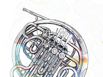 Drawing of French Horn 335.2059