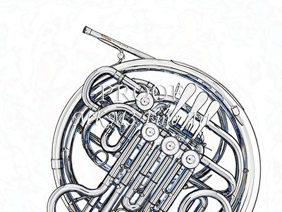 Drawing of French Horn 339.2059