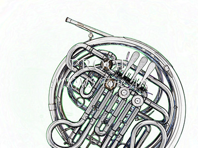 Drawing of French Horn 342.2059
