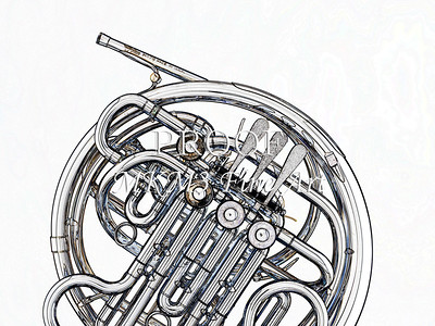 Drawing of French Horn 332.2059