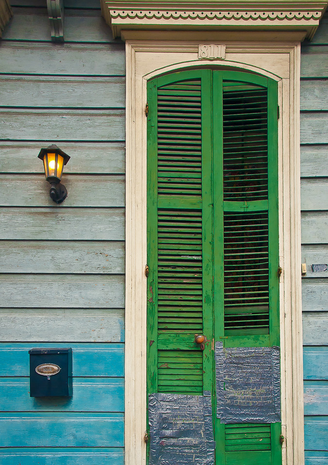 """<center><h2>' Duct Tape Shutters '</h2> New Orleans, LA  12""""x16"""", Luster paper (12 mil) limited edition of 50</center>"""
