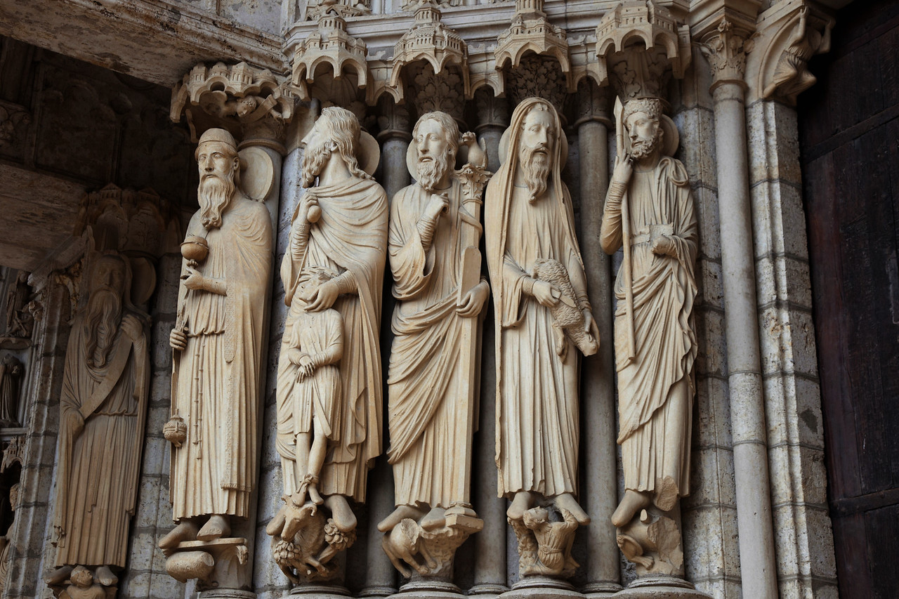 Chartres Cathedral North Porch, Prophets Melchizedek, Abraham with Isaac, Moses, Samuel, and David