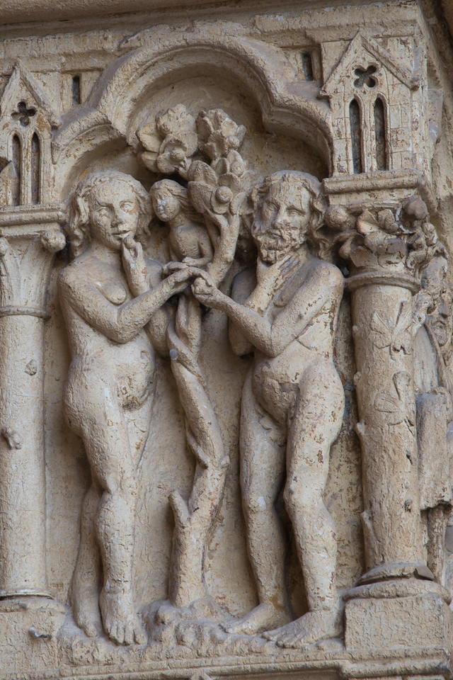 Amiens Cathedral West Facade, Adam and Eve Eating the Forbidden Fruit