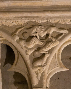 Bourges Cathedral West Facade Spandrel, Men and Beasts Drowning in the Flood