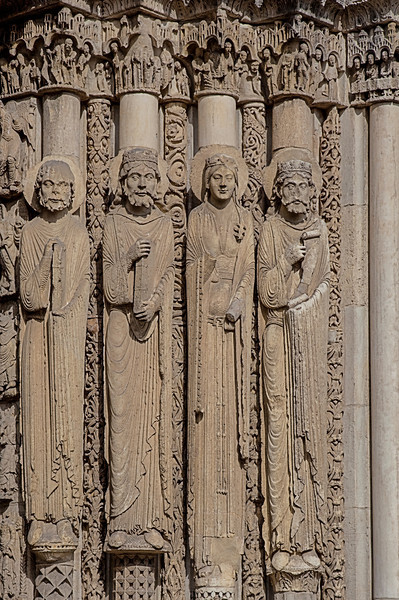 Chartres Cathedral West Facade Jamb Figures, Kings and Queens of Judah