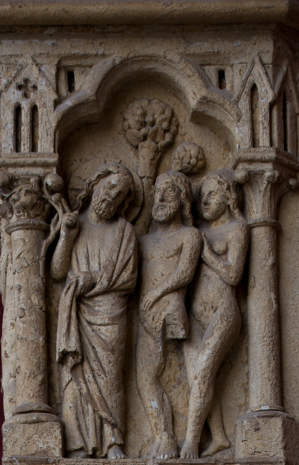 Amiens Cathedral West Facade, Adam and Eve Being Admonished