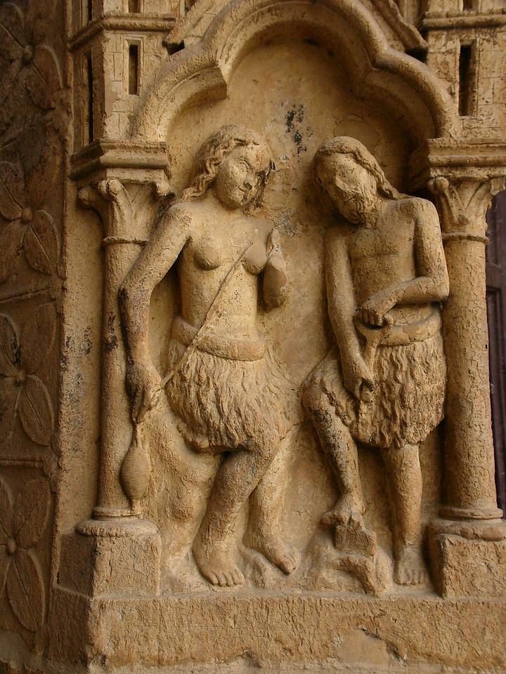 Amiens Cathedral West Facade Relief, Adam and Eve Farming