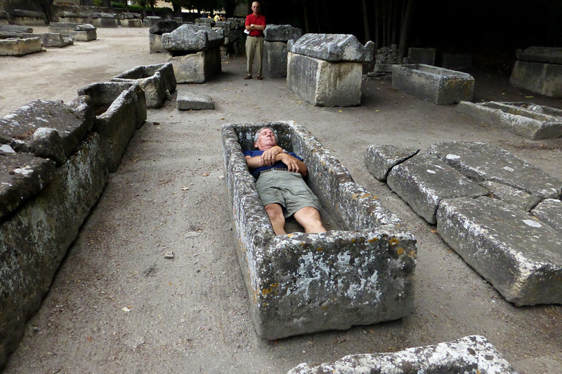 Stephen decided to try out one of the sarcophages that line the Aurelian way.