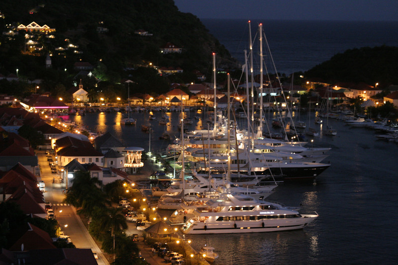 Saint Barth - Gustavia<br /> Harbor at night from the lighthouse
