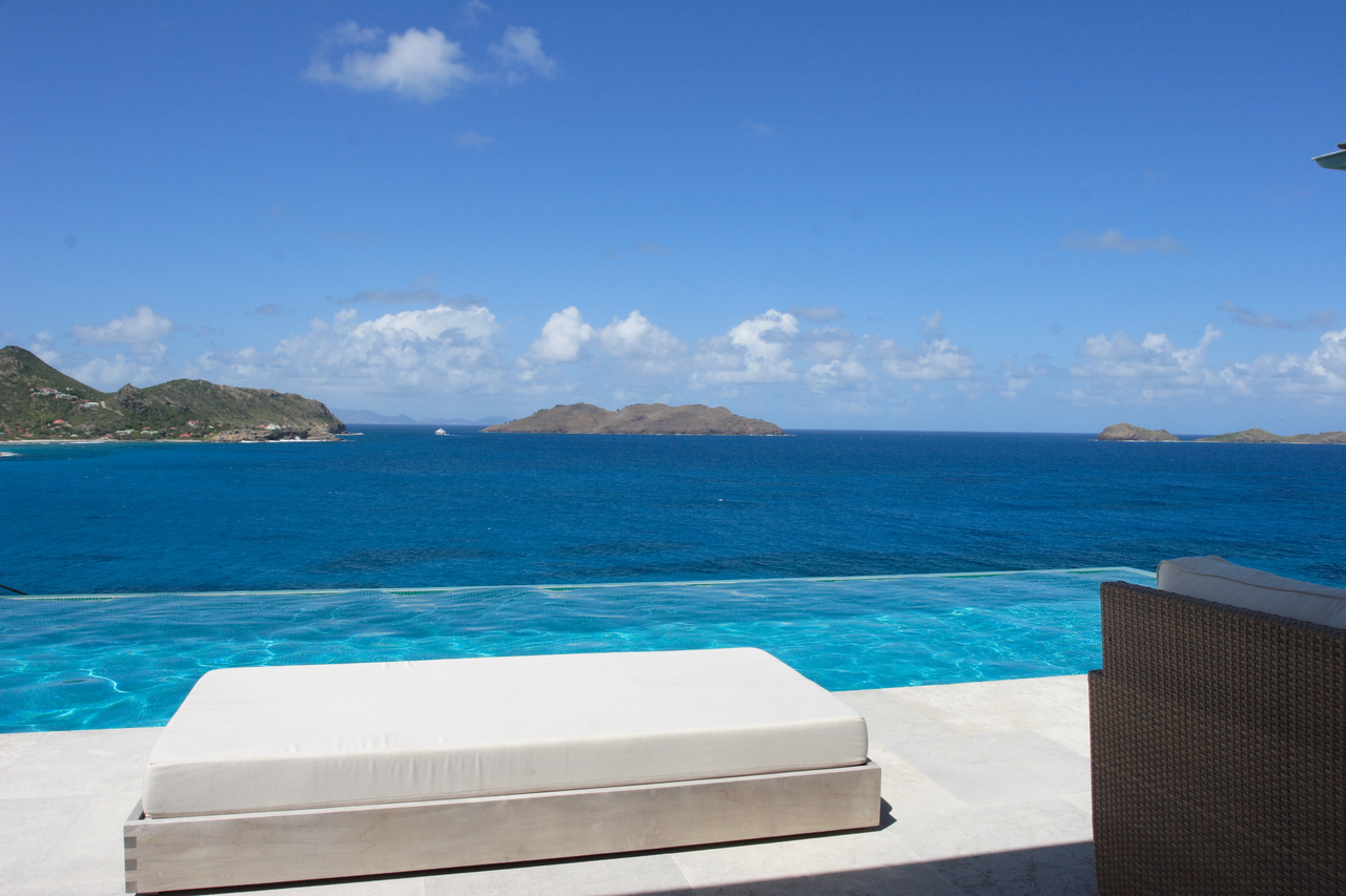 Saint Barth - Villa Ella, aka SIB BBS In St. Jean, stone walls and turquoise tiles lead up to the commanding ocean view and impressive 55' (17m) pool
