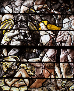 Chaource, Eglise Saint-Jean-Baptiste - Grisaille Window - The Expulsion of Adam and Eve