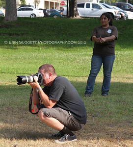 Photographer, Doug Heiser and Field Assistant, Laura Centeno.  A multitude of temperment evaluation tests take place at the  SCABR French Ring trial in Long Beach, CA on July 13, 2012  © Erin Suggett Photography 2012 - All Rights Reserved