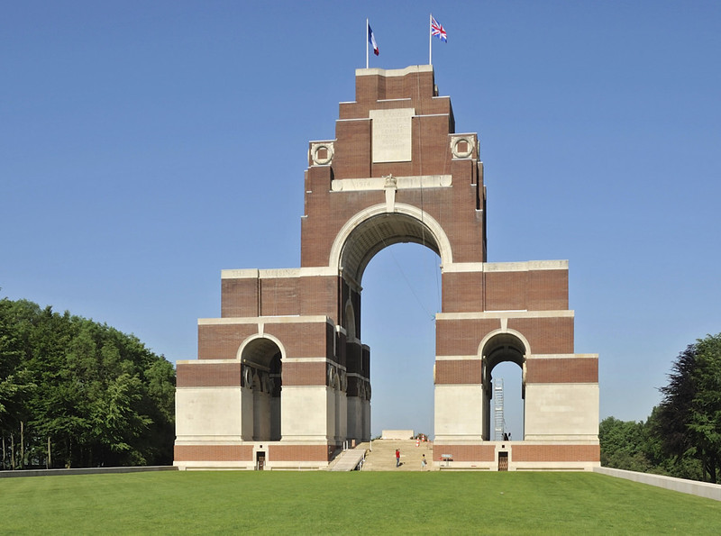 Memorial to 72,000 British soldiers missing after the Somme battles of 1916 - 1918, Thiepval, Sun 27 May 2012 1.  The names of the missing are inscribed on the white panels; the doorways at the base of the memorial give some idea of their size.