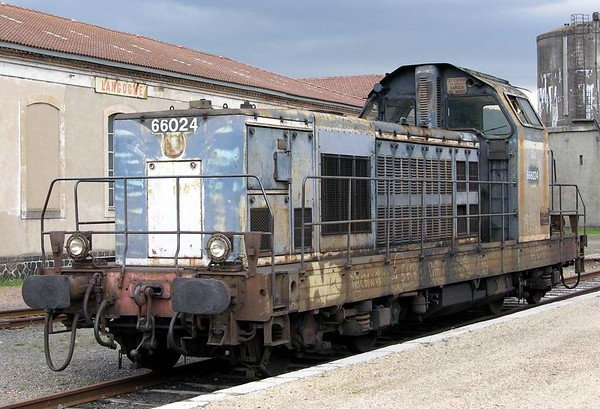 SNCF 666024, Langogne, Tues 3 May 2005.  This diesel piloted 231.K.8 and the Mediterranean Steam Express from Langogne to Marseilles.