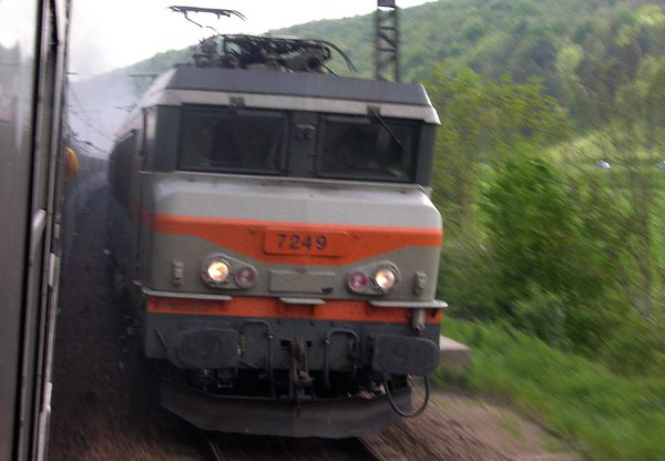 SNCF 7249, north of Les Laumes, Fri 6 May 2005 - 1732.  The Mediterranean Steam Express had been put onto the southbound track so that this northbound express could overtake.