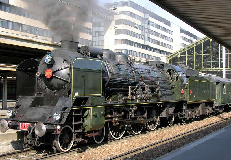 SNCF 231.K.8, Paris Gare de Lyon, Sun 1 May 2005 2.  The Pacific hauled the Mediterranean Steam Express throughout.  It was assisted by 141.R.420 in the Cevennes mountain section.