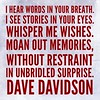 I hear #words in your breath. <br /> I see stories in your eyes. <br /> #Whisper me #wishes.<br /> Moan out memories,<br /> without restraint <br /> In #unbridled surprise. <br /> #DaveDavidson #instadaily #instagood #writersofinstagram #poetsofinstagram #quotes #lovestory #couple #hopelessromantic #poetry #writing