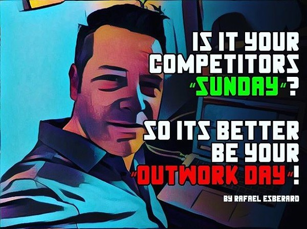 It is never easy, friends will invite, kids, parents, wife/husband... but remember every little thing you do at Sunday, outworks your competitor!! #sales #hustle #salesquotes #inspiration #work #workmore