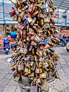 Romance is a live in Lecce with these love locks just outside the Anfiteatro Romano in Piazza Sant'Oronzo