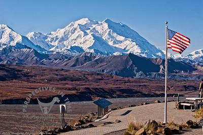 Denali - Mountain and Flag