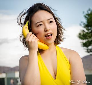 Las Vegas models pose with fruit.