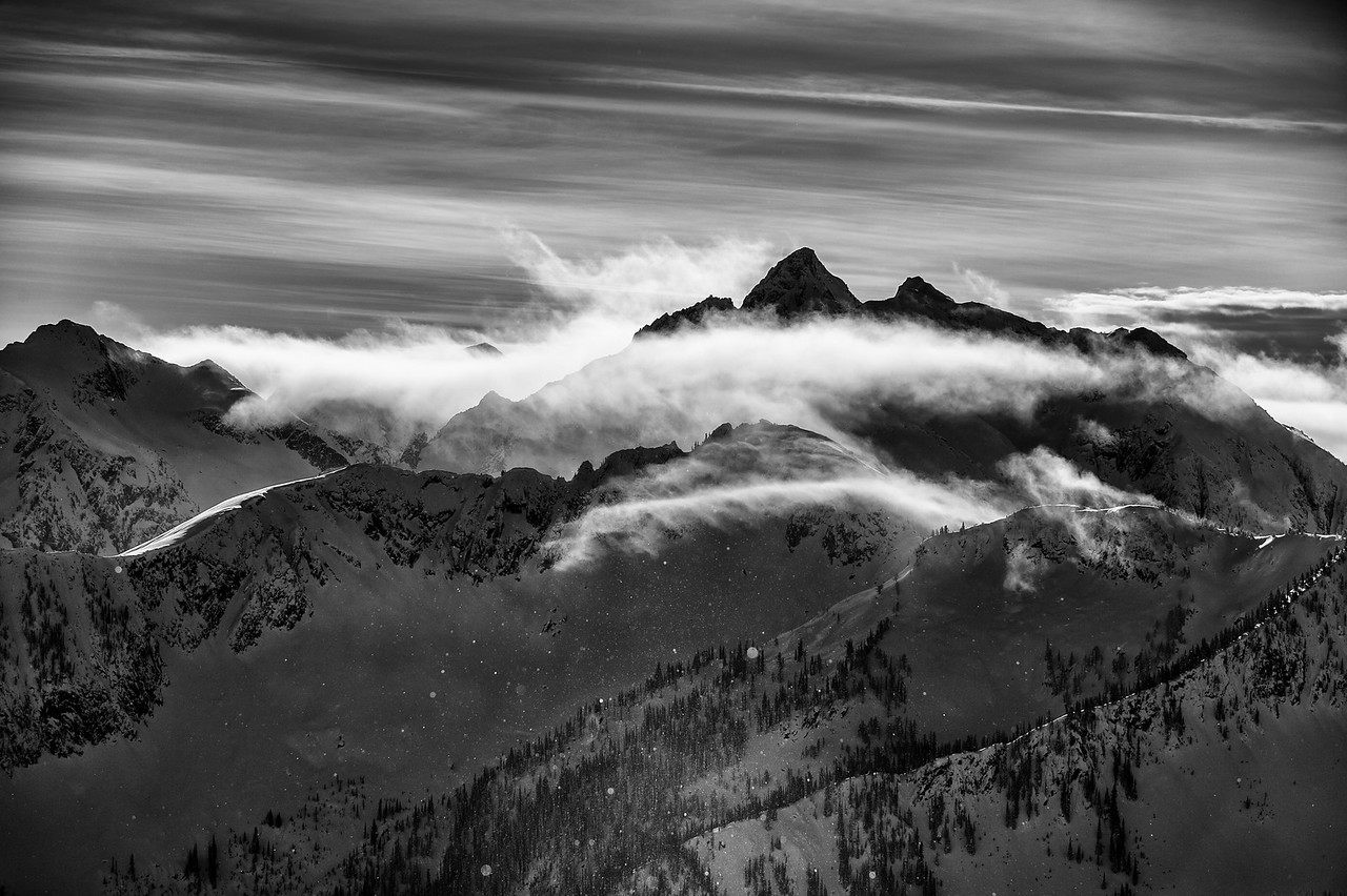 Mount Harlow shrouded in frozen mist and clouds