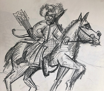 """After Rembrandt's """"The Polish Rider"""""""