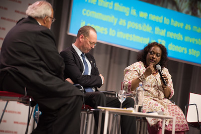 22nd International AIDS Conference (AIDS 2018) Amsterdam, Netherlands   Copyright: Marcus Rose/IAS  Photo shows: Seizing the moment for TB: Current challenges in TB care and in TB and HIV integration. Panel discussion: L-R: Eric Goosby, United Nations Special Envoy on Tuberculosis, United States. Paul Farmer, Partners In Health, United States. Blessina Kumar, Global Coalition of TB Activists (GCTA), India