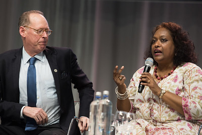 22nd International AIDS Conference (AIDS 2018) Amsterdam, Netherlands   Copyright: Marcus Rose/IAS  Photo shows: Seizing the moment for TB: Current challenges in TB care and in TB and HIV integration. Panel discussion: L-R: Paul Farmer, Partners In Health, United States Blessina Kumar, Global Coalition of TB Activists (GCTA), India