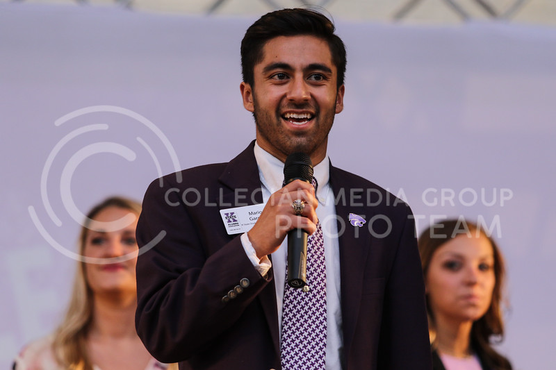 Kansas State University student ambassador Mario Garcia speaks at the Homecoming Pep Rally on Friday, Oct. 20th, 2017.  (Photo by Cooper Kinley | Collegian Media Group)
