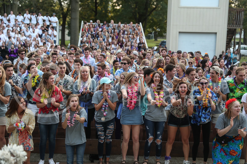 Students at the Kansas State Homecoming Pep Rally participate in the Wabash on Friday, Oct. 20th, 2017. (Photo by Cooper Kinley | Collegian Media Group)