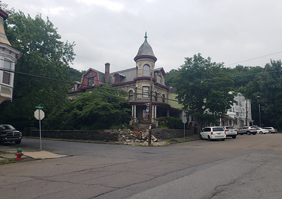 Damaged steps can be seen on Smith's Mansion at the southeast corner of Main and Spruce streets in Mahanoy City after the building was damaged by an out of control tractor trailer Wednesday night. (Frank Andruscavage / Staff Photo)