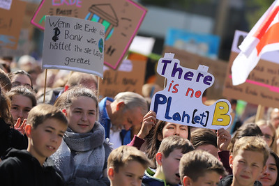 KOBLENZ, GERMANY - SEPTEMBER 20th, 2019; People of different ages demonstrate at Fridays for future in Koblenz.