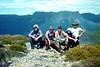 John Rousseau, Shane Latimer, Simon Hart, Brod Brennan, Derek Frew hiking through the Tasmanian High Country.