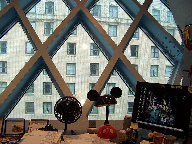 July 2010.  My desk, with the Executive Hotel Pacific across the street.