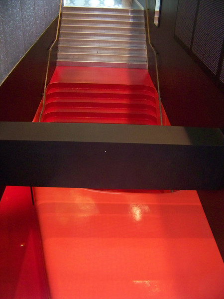 July 2010.  Stairs from the silver-floored Mixing Chamber to the red-floored 4th floor.