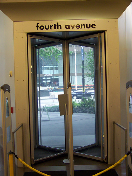 July 2010.  Revolving doors on the first floor.