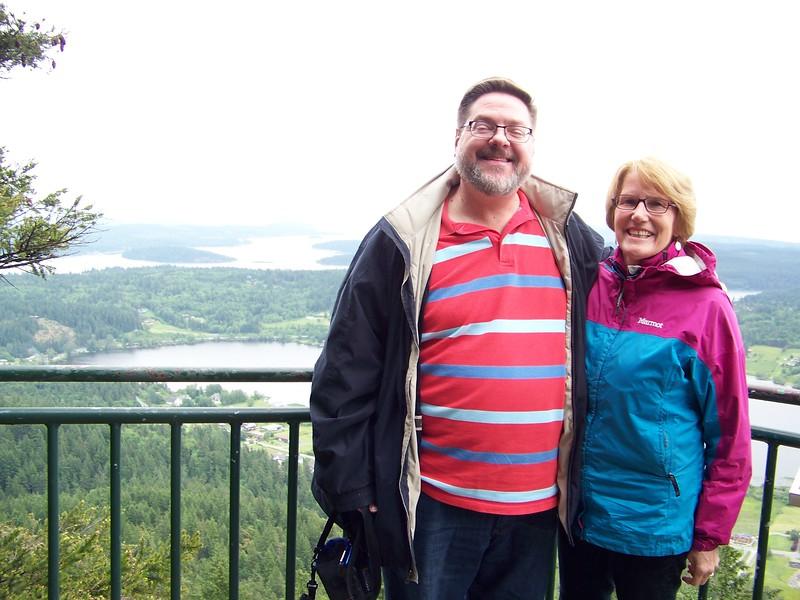 Jon and Megan on top of Mount Erie in Anacortes