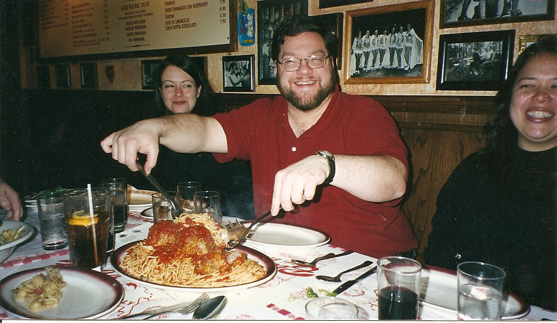 Tami, Jon, and Mary Lou marvel at the big meatballs!