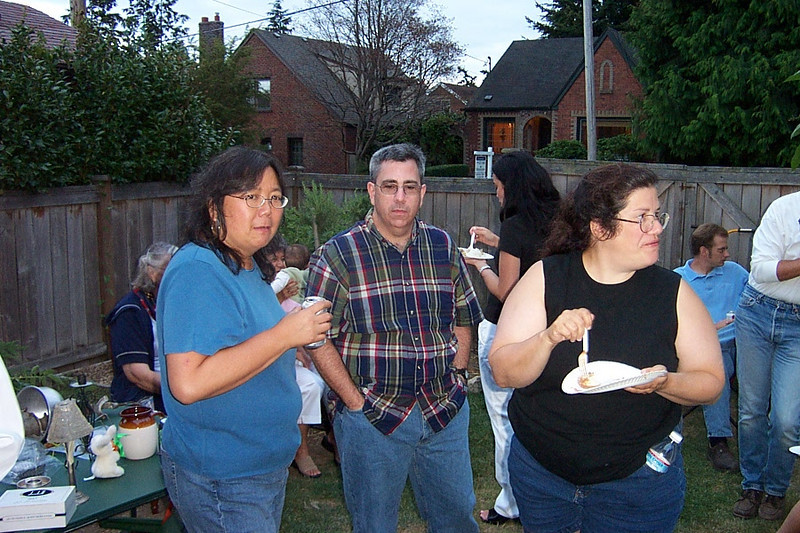 Kay, Dave, and Gina.<br /> [Kirk & Mary Lou's farewell party and garage sale - August 2003]