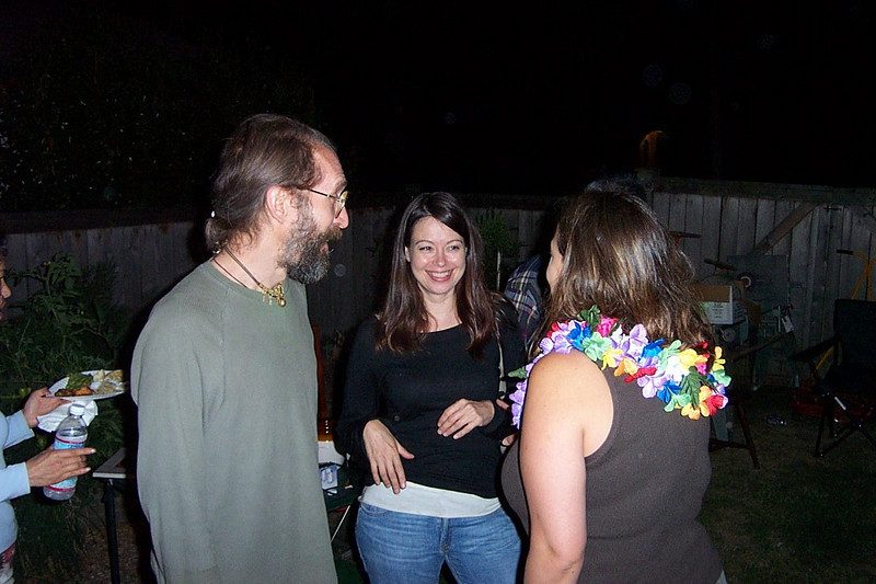 Carl, Tami, and Mary Lou.<br /> [Kirk & Mary Lou's farewell party and garage sale - August 2003]