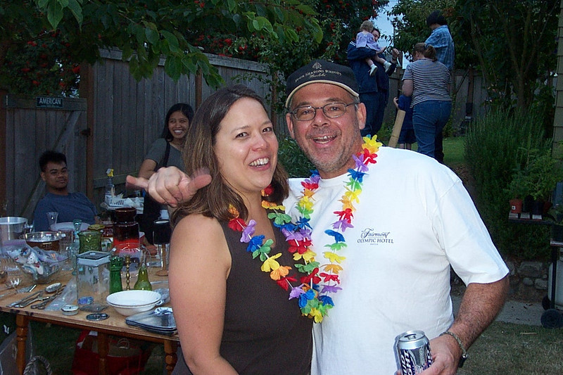 Kirk and Mary Lou were moving to Hawaii!  In August of 2003, they set up a garage sale in their backyard, and invited all their friends over for a farewell party.