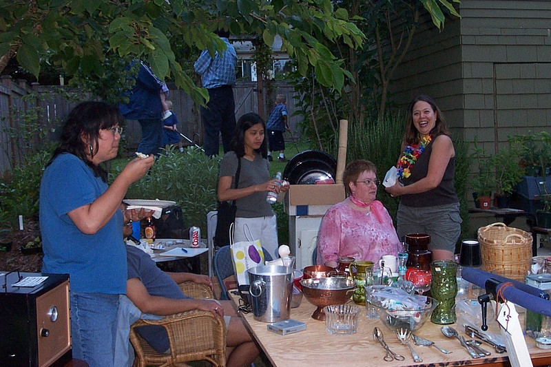 Kay (in blue), Susan (in pink), and Mary Lou.<br /> [Kirk & Mary Lou's farewell party and garage sale - August 2003]