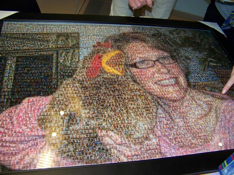 Megan's portrait was a photo collage.<br /> [Megan's retirement party - August 1, 2013]