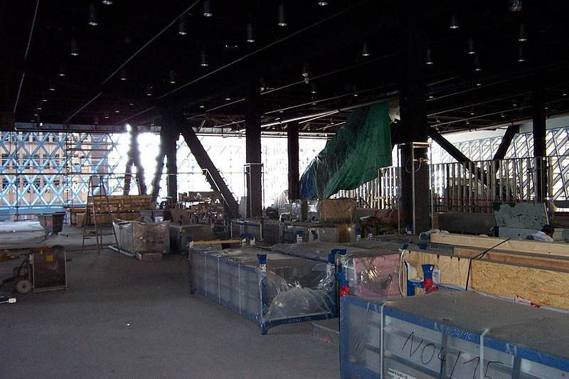 """The 5th floor Mixing Chamber.  Straight back to the left will be the computer """"casino.""""  Note that the raised, silver aluminum floor has not yet been installed."""