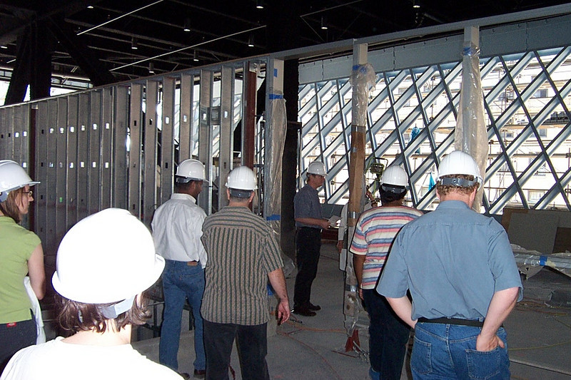 Now we're approaching the unfinished wall that will separate the public part of the 5th floor from the GRS workroom.
