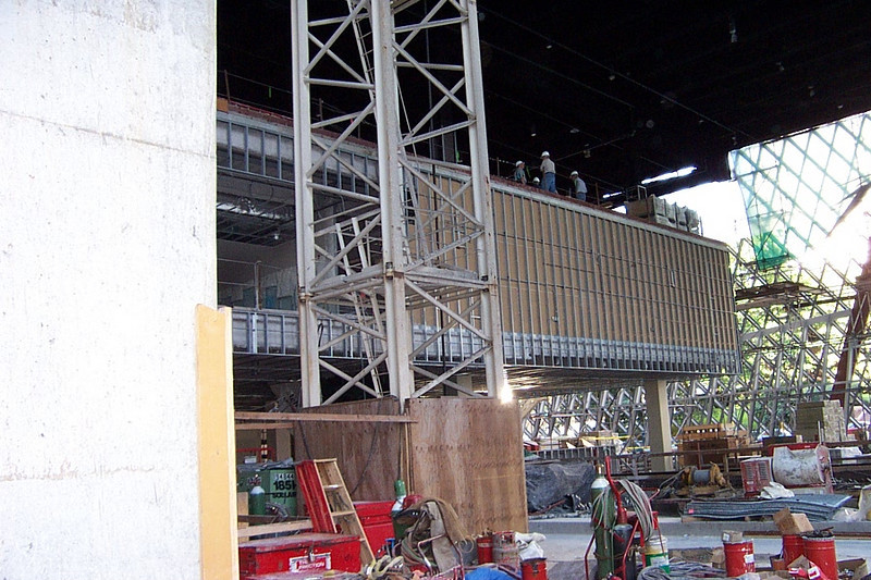 Standing by the elevator shaft on the third floor, looking toward Fifth Ave.  Note the construction crane that still extended all the way up the atrium.
