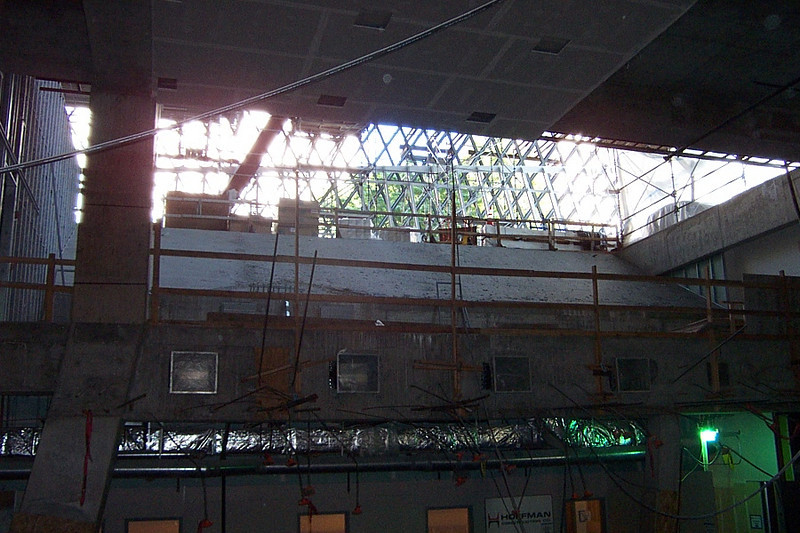 We're still on the first floor.  This is looking up through the space that will become the auditorium.