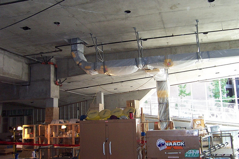 The conveyor belt system had already been installed on the first floor.