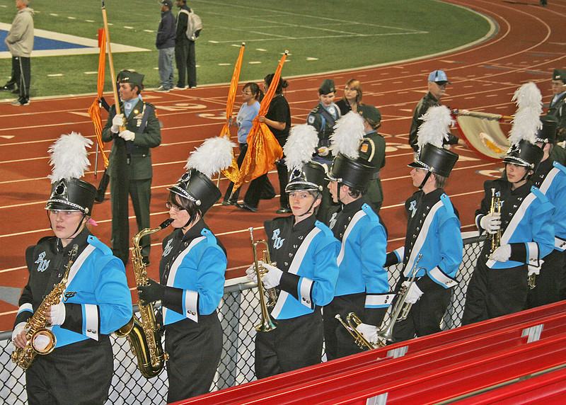 Our grandson, Craig, is in the band at Pueblo West High School.  He is the third from the left.  We all went to the football game where his school won.  I can't remember the last time I was at a high school football game.